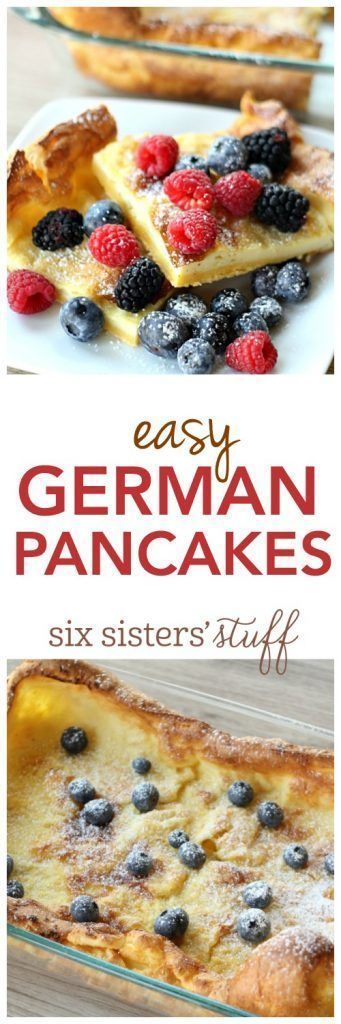 Easy German Pancakes recipe from http://SixSistersStuff.com | German Pancakes are a popular breakfast food for many. You can pile them high with whipped cream and berries or smother them in syrup – there is no wrong way to eat these kid-approved, delicious pancakes!