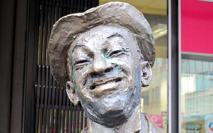Melbourne (or was it Adelaide?) The face of Roy ('Mo') Rene, from a statue in the street.