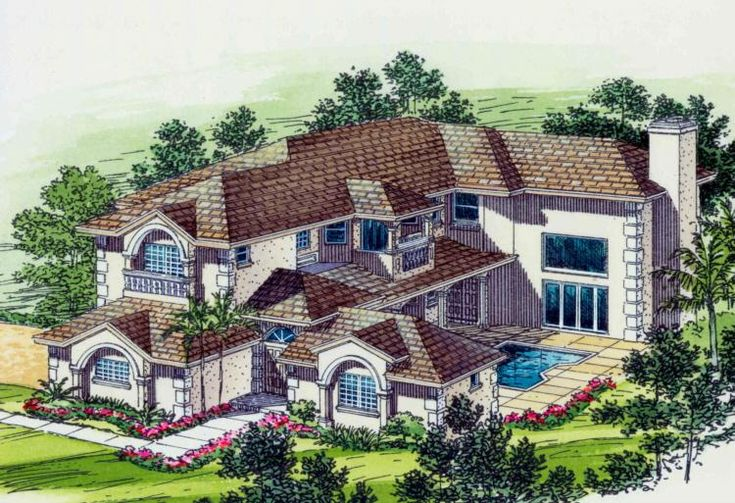 House Plan 168-00068 - This luxurious house plan featues approximately 5,388 square feet of living space with six bedrooms and four plus baths. The facade is highlighted with amazing outdoor space and attractive exterior elements.