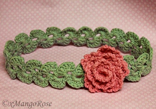Crochet Flower Headband By Wendy Korz - Free Crochet Pattern - (xmangorose.blogspot)