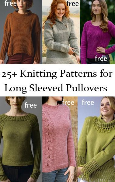 Free Long Sleeve Pullover Sweater Knitting Patterns