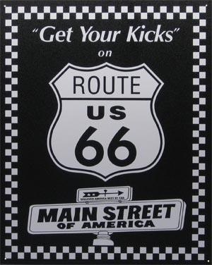 Route 66 signage.