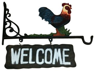 Cast Iron Rooster Welcome Hanging Sign cd-1267 transitional-outdoor-decor