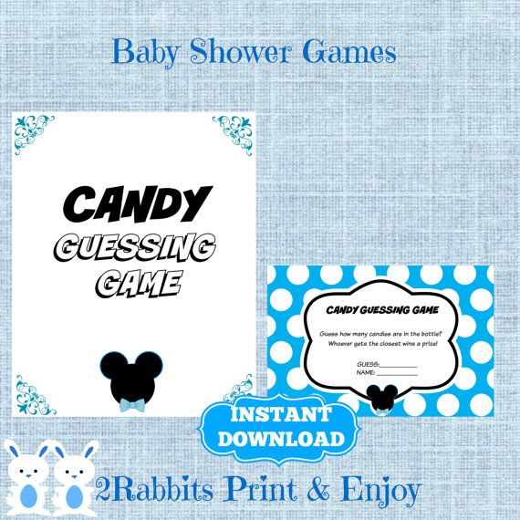 mickey mouse candy guessing game with matching sign disney boy baby