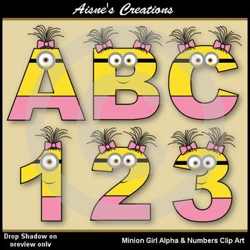 Minions Girl Letters A-Z and numbers 0-9