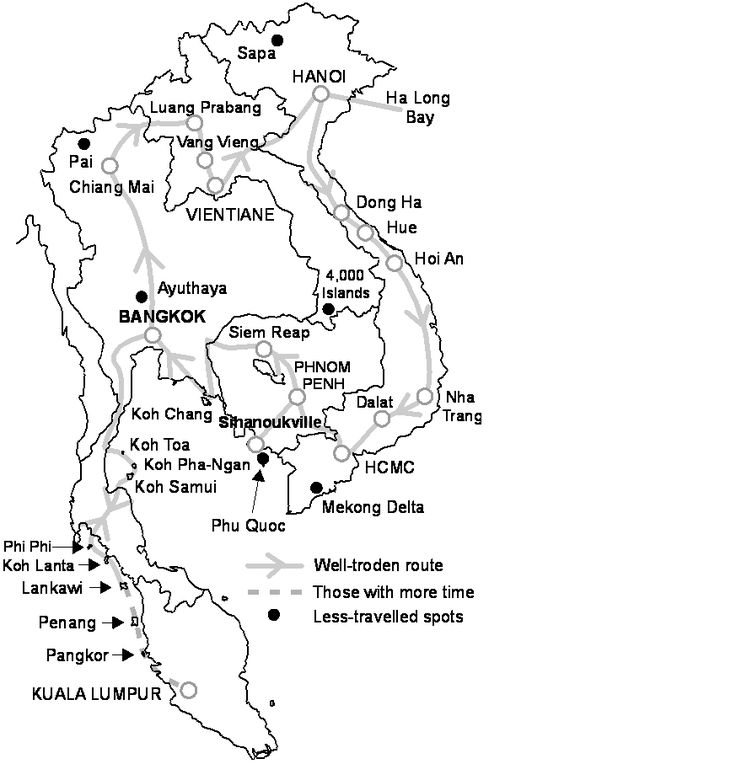 SE Asia itinerary - map