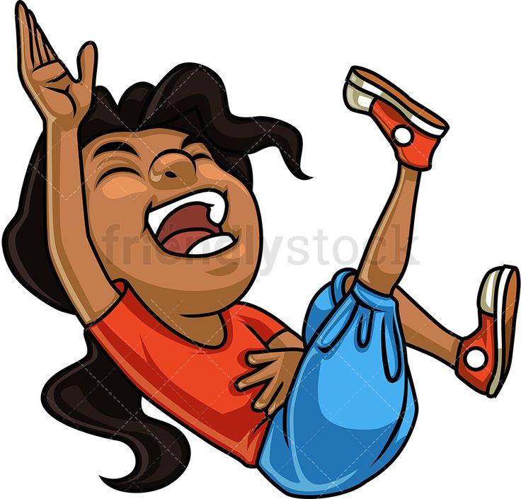 Black Girl Laughing Cartoon Clipart Vector Friendlystock Little Girl Illustrations Cartoon Clip Art Black Girl