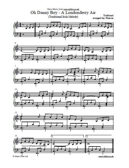 Oh Danny Boy (tune: A Londonderry Air) is a popular Irish folk song, and the National Anthem of Northern Ireland. This instrumental arrangement is for piano or keyboard, or download midi and mp3 files.