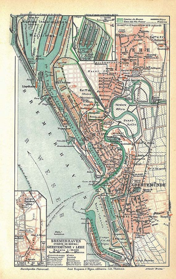 Vintage City Plan Bremerhaven Street Map 1920s Germany By Carambas