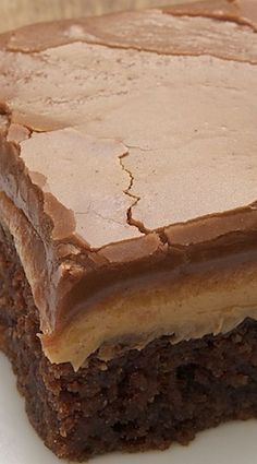 Peanut Butter Fudge Cake Recipe ~ The chocolate cake is moist and soft... a crowd-pleaser!