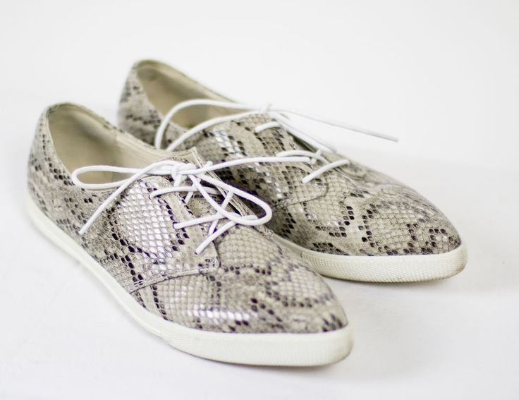 Ladies HOT Soles Beige Crock Snakeskin Casual Shoes Trainers UK 6 EU 39 Pointed #HotSoles #Laceup #Casual