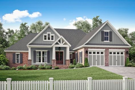 Great four bedroom Craftsman house plan design with open concept living spaces, and a flexible bonus room over the garage. Browse our house plans today!