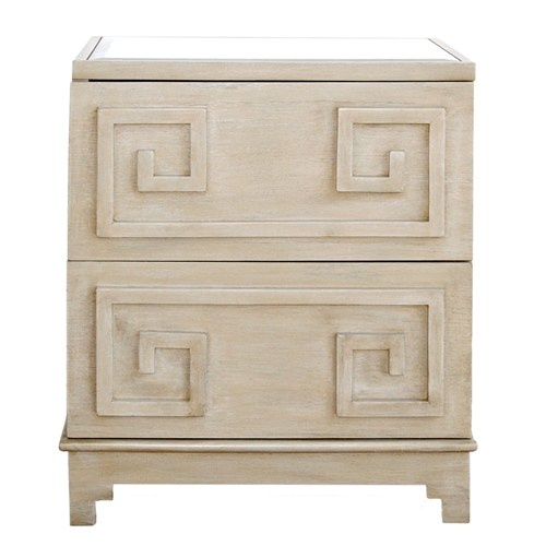 Greek Key Limed Oak Nightstand