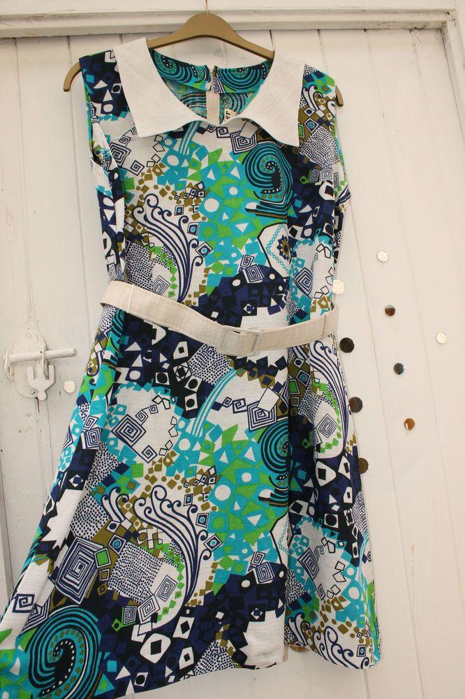 VTG SIXTIES Blue Paisley 60's Linen DRESS 16 Belt Peter Pan COLLAR