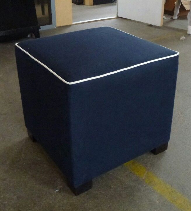 Navy Blue Nautical Ottoman with White Welt | Garnish Custom Contemporary  upholstered goods and lacquer furniture | Pinterest | Ottomans, Navy blue  and Blue - Navy Blue Nautical Ottoman With White Welt Garnish Custom