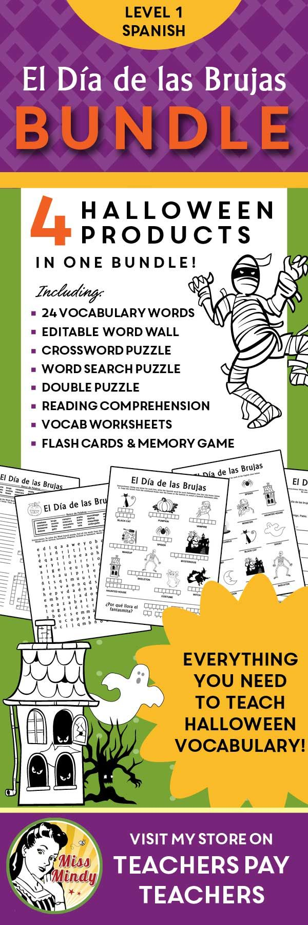 Game with shapes of different colors crossword - Spanish Halloween Bundle Everything You Need To Teach Level 1 Spanish Students Halloween Vocabulary