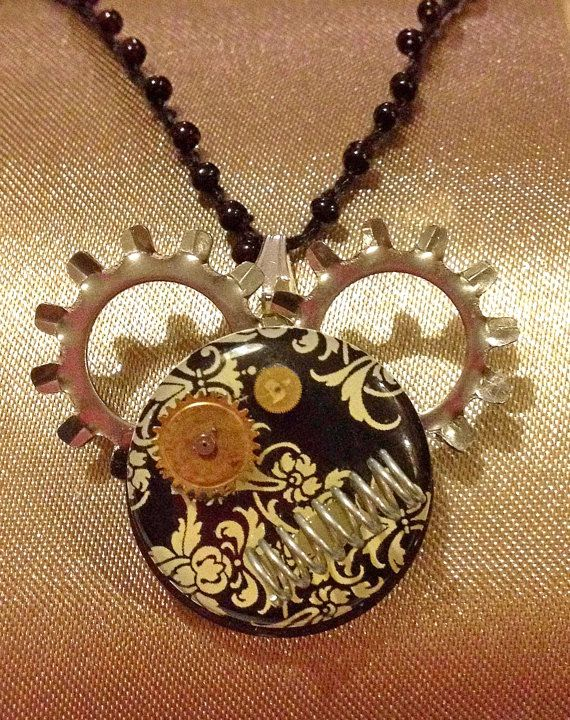 Mickey Mouse Steampunk Pendant with watch by PurpleStarrDesign, $8.00