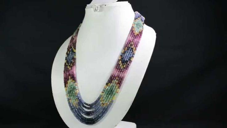 7 Strands Natural Ruby Emerald Sapphire 409ct Multi Row Gemstone Beads N...