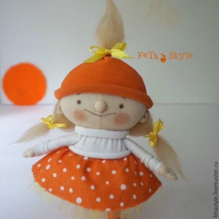 Купить Оранжевое настроение Кукла текстильная Подарок для радости - кукла текстильная, кукла из ткани