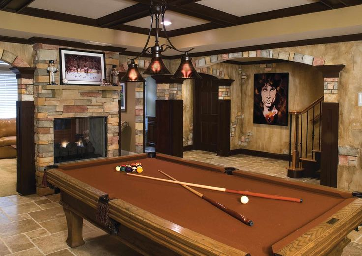 Basement Pool Table And Stone
