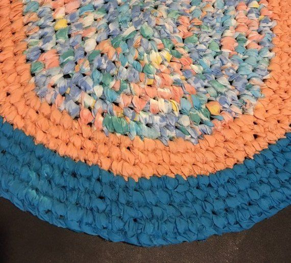 Handmade Turquoise And Peach Coral Oval Rag Rug Vintage Style Toothbrush Knotted Rug Bath Kitchen Entry Ocean Beach Machine W Rag Rug Etsy Handmade Pillows