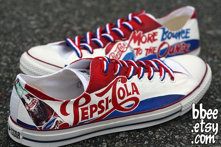 Pepsi-Cola shoes -- Amazing shoe-painting by Alexandra Trim (http://bbeeshoes.deviantart.com)... LOVE IT!!!