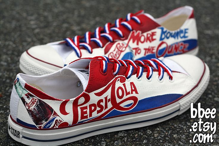 Pepsi-Cola shoes -- Amazing shoe-painting by Alexandra Trim (http://bbeeshoes.deviantart.com)