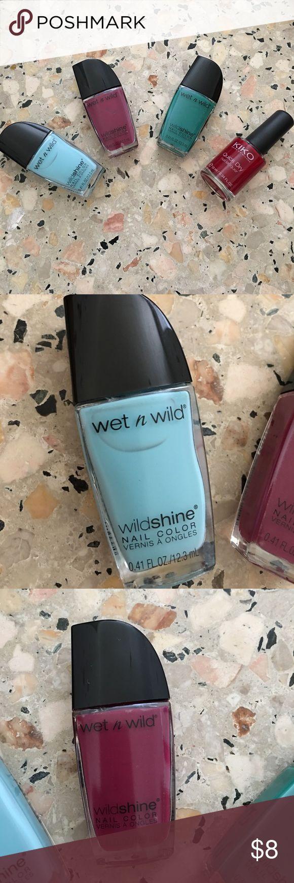 Nail polish bundle 3 Wet n'Wild nail polishes and a Kiko Milano quick dry nail polish. wet n wild Other