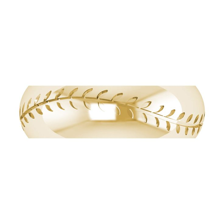 7.1mm Men's Etched Baseball Design 14kt Yellow Gold Wedding Band
