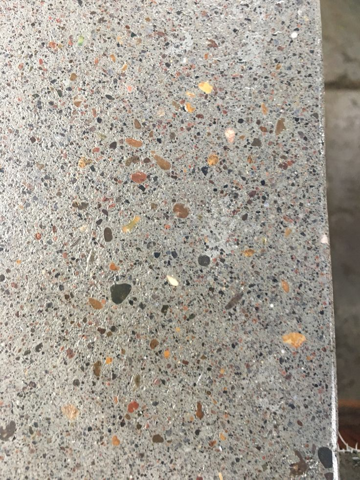 The polished concrete counter top with exposed aggregate