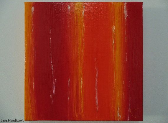 Red Yellow & Orange with White Abstract Square by LoveHandyWork