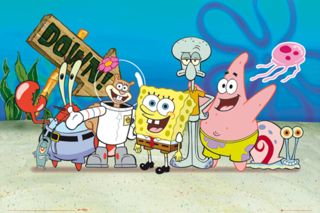 The show's main characters: (from left) Plankton, Mr. Krabs, Sandy, SpongeBob, Squidward, Patrick, and Gary.