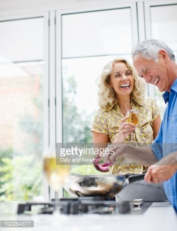 Stock Photo : Couple cooking together