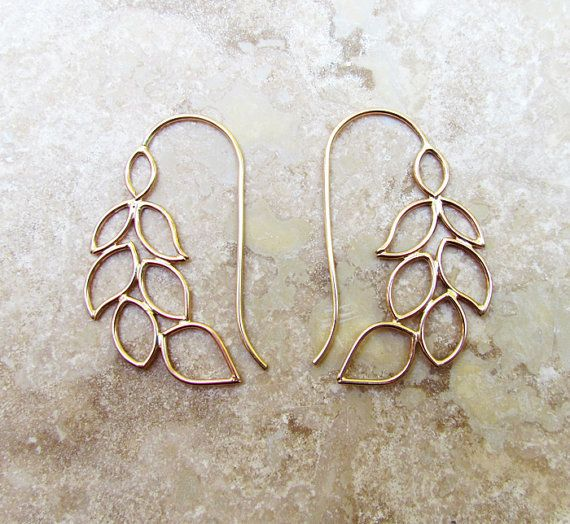 Garland Cascading Leaves Earrings 1.75 inches by MeliJewelry, $78.00