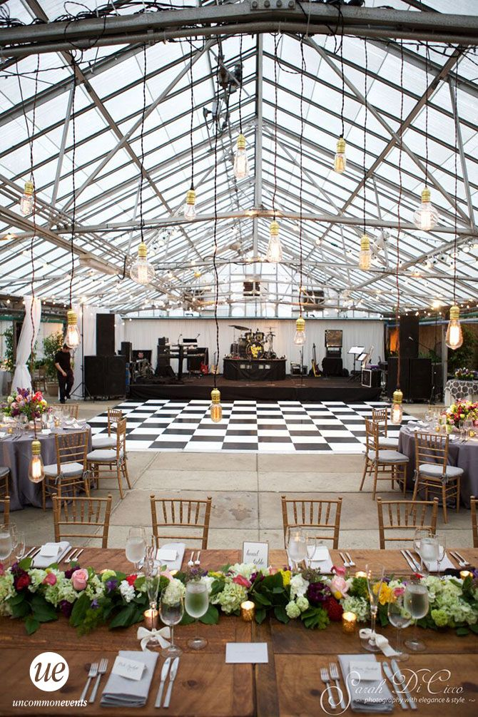 Black and White Checkered Dance Floor | Philadelphia Wedding at The Horticulture Center | Uncommon Events