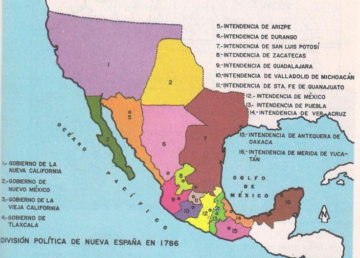 Mapa División política de Nueva España en 1786