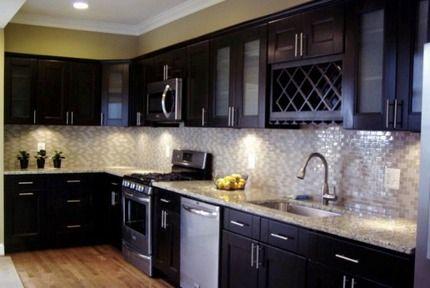 Espresso Cabinets Luna Pearl Granite Google Search