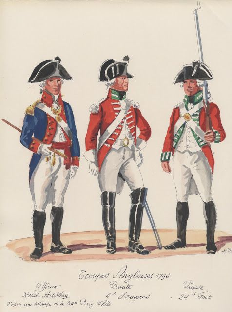 Troupes Anglaises ; 1796 . Royal Artillerie officer,  4th,Dragoons private,  24th.Foot private.