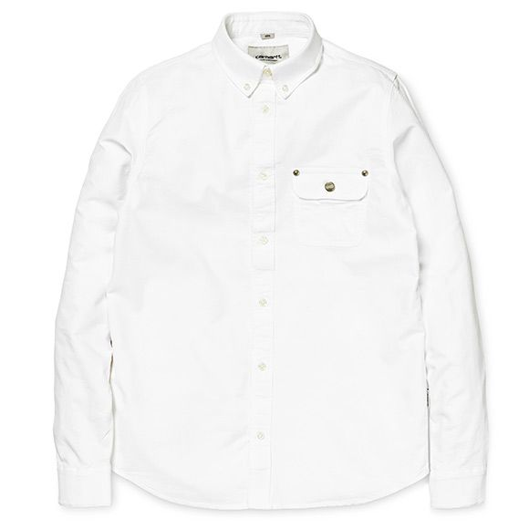 Carhartt WIP Perry Shirt - White / Carhartt Brown (Rinsed)