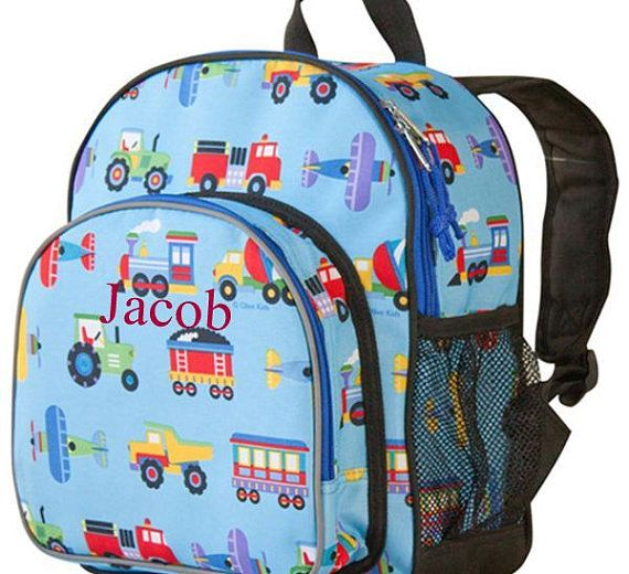 Personalized Boys Planes Trains And Trucks Pack N Snack Backpack Toddler Boy
