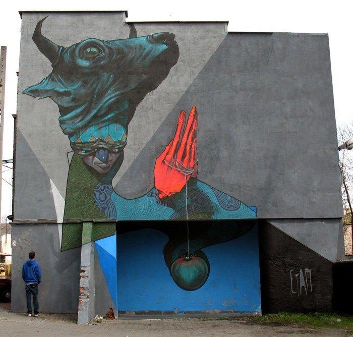 Etam : Praying sinner  Katowice street art festival, Poland, 2010