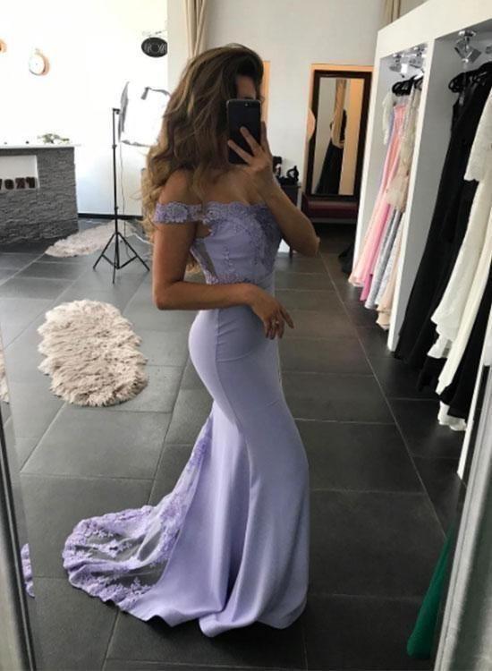 Mermaid Lace Prom Dresses Off the Shoulder Sheath Purple Evening Dresses