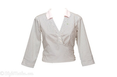 LACOSTE Polka Dot Tie-Hem Wrap Shirt Size 8 at http://stylemaiden.com