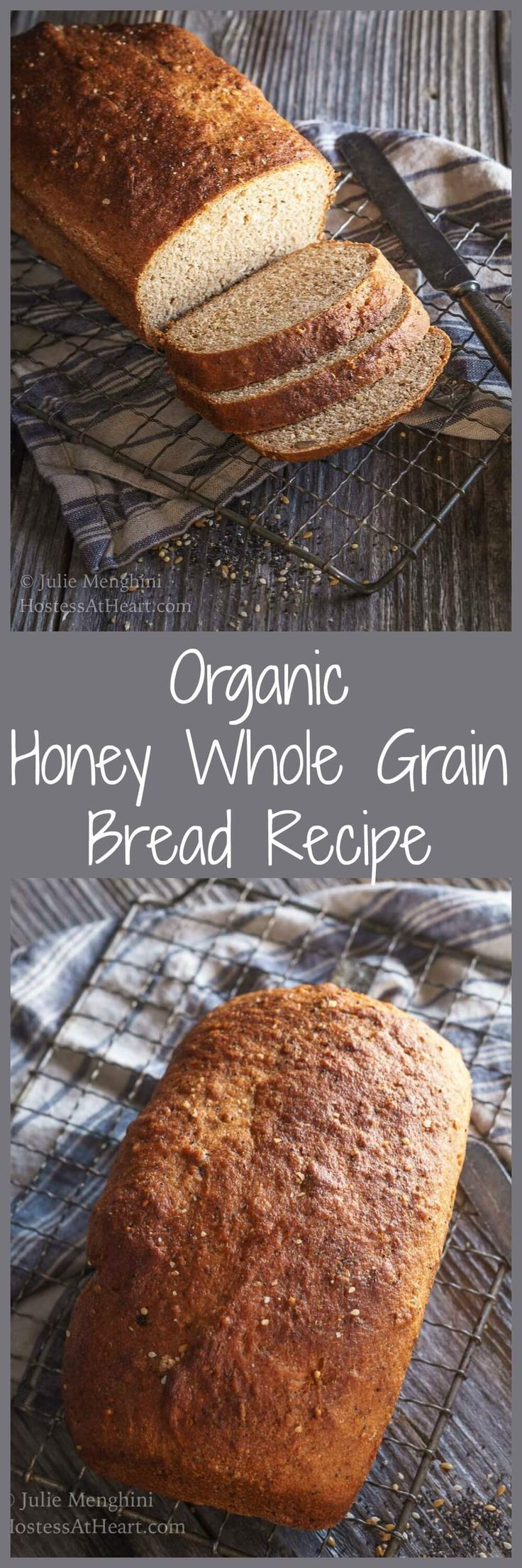 This Organic Honey Whole Grain Bread Recipe make a delicious hearty loaf that is perfect with a hot bowl of soup. | HostessAtHeart.com