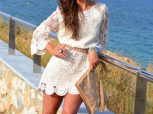 http://www.tumblr.com/reblog/26632473933/4oQ83yDU: Summer Dresses, Crochet Dresses, Summer Style, Fashion Outfits, Fashion Design, Crochet Hooks, Street Style, The Dresses, Lace Dresses