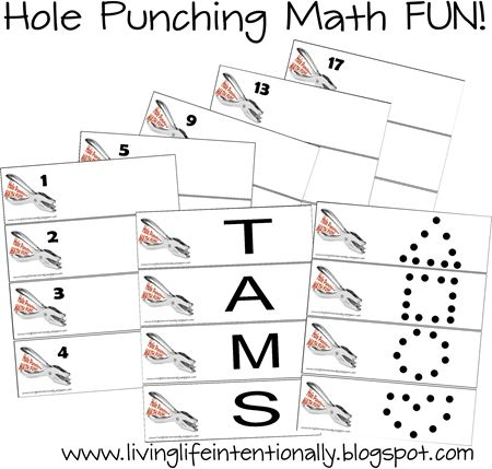 Math Games for Preschool and Kindergarten - FREE Hole Punching FUN