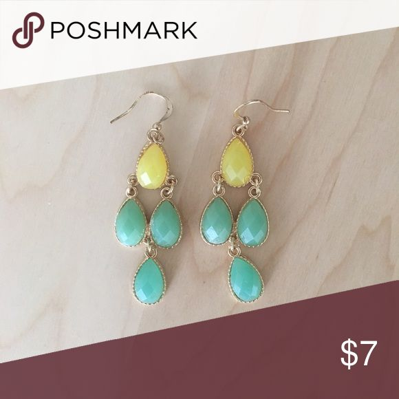 Yellow and blue earrings Gold coloured hard wear with yellow and green stones Jewelry Earrings