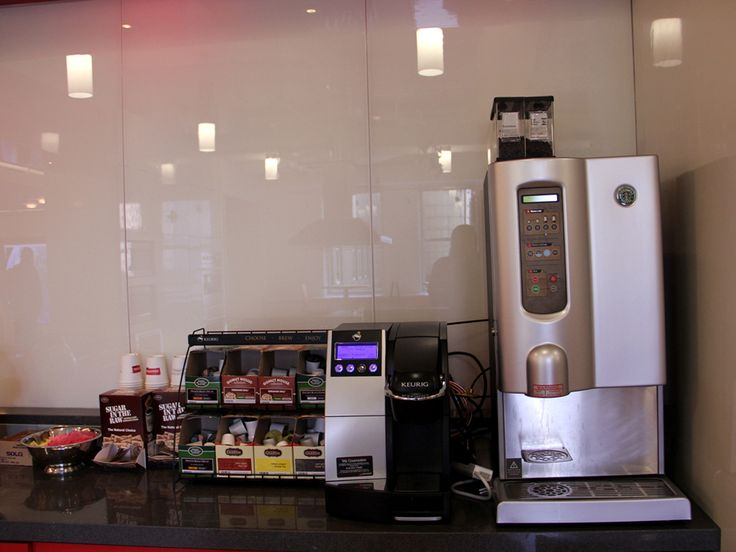 The company used to have a Keurig coffee machine, but it got a Starbucks coffee maker for this new space. People are very happy about it.