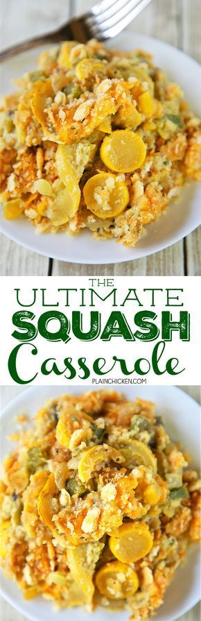 The Ultimate Squash Casserole - squash, bell pepper, onion, cream of mushroom soup, cheddar cheese, eggs, chicken base topped with Ritz crackers and butter. Even squash haters will love this casserole! SO easy and SO delicious. Took this to a potluck and everyone asked for the recipe!