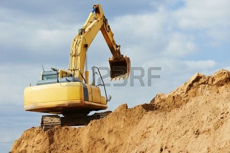 27626597 excavator machine at excavation earthmoving work in sand quarry